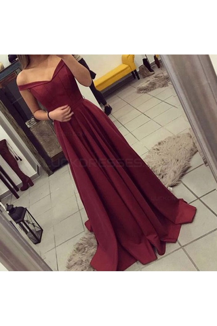 A-Line Off-the-Shoulder Long Burgundy Prom Dresses Party Evening Gowns 3020435