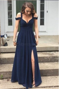 Long Navy Chiffon Side Slit Prom Dresses Party Evening Gowns 3020442