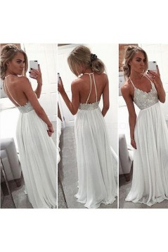 Long White Spaghetti Straps Chiffon Prom Dresses Party Evening Gowns 3020443