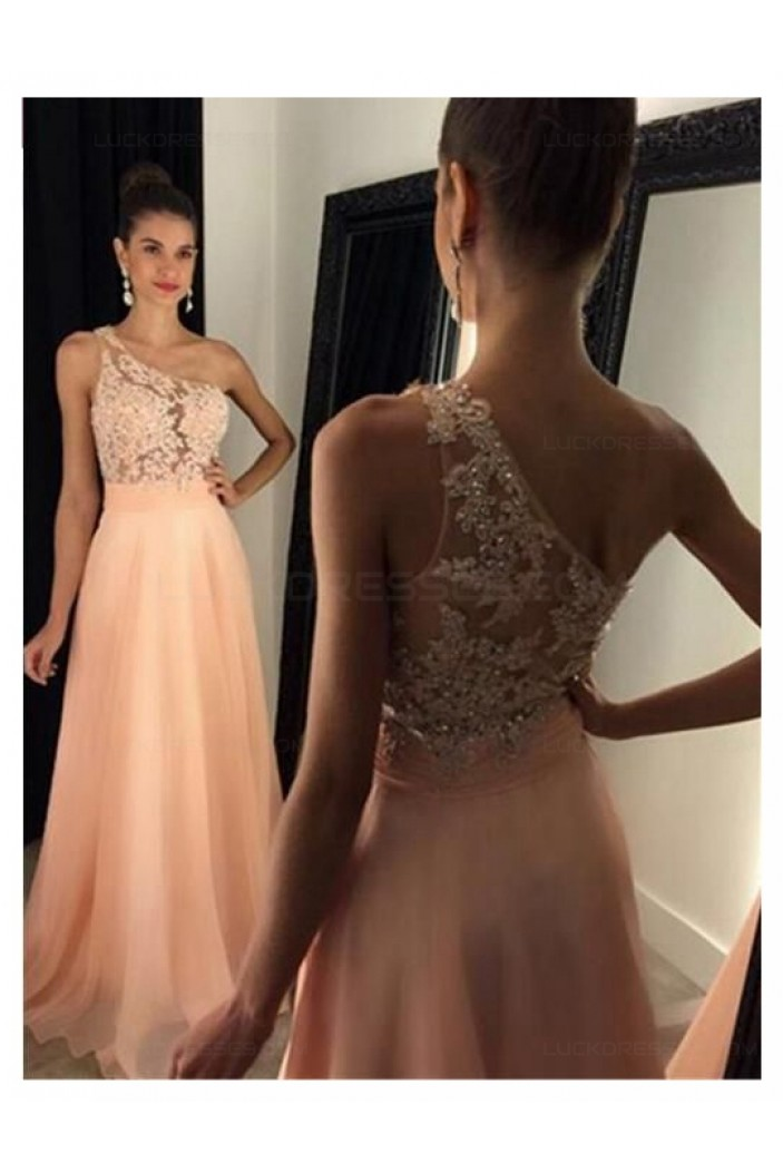 A-Line One-Shoulder Beaded Lace Chiffon Prom Dresses Party Evening Gowns 3020444