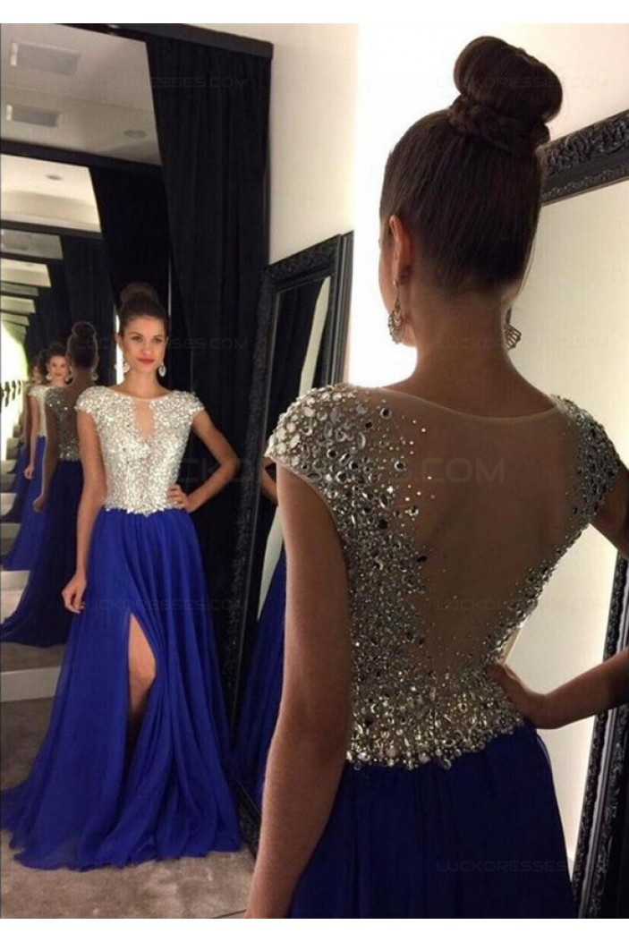 Long Blue Beaded Prom Dresses Party Evening Gowns 3020446