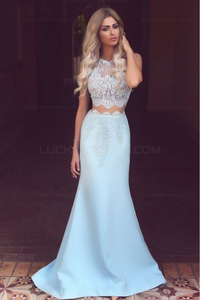 Mermaid Lace Two Pieces Prom Dresses Party Evening Gowns 3020447