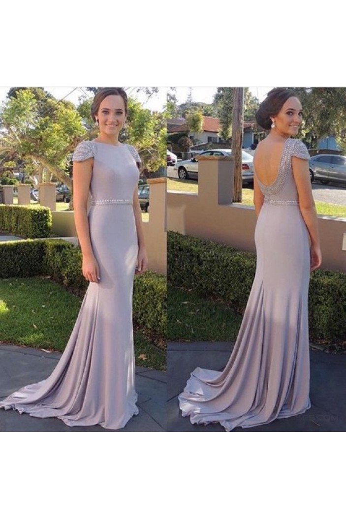 Mermaid Cap Sleeves Beaded Long Prom Dresses Party Evening Gowns 3020448