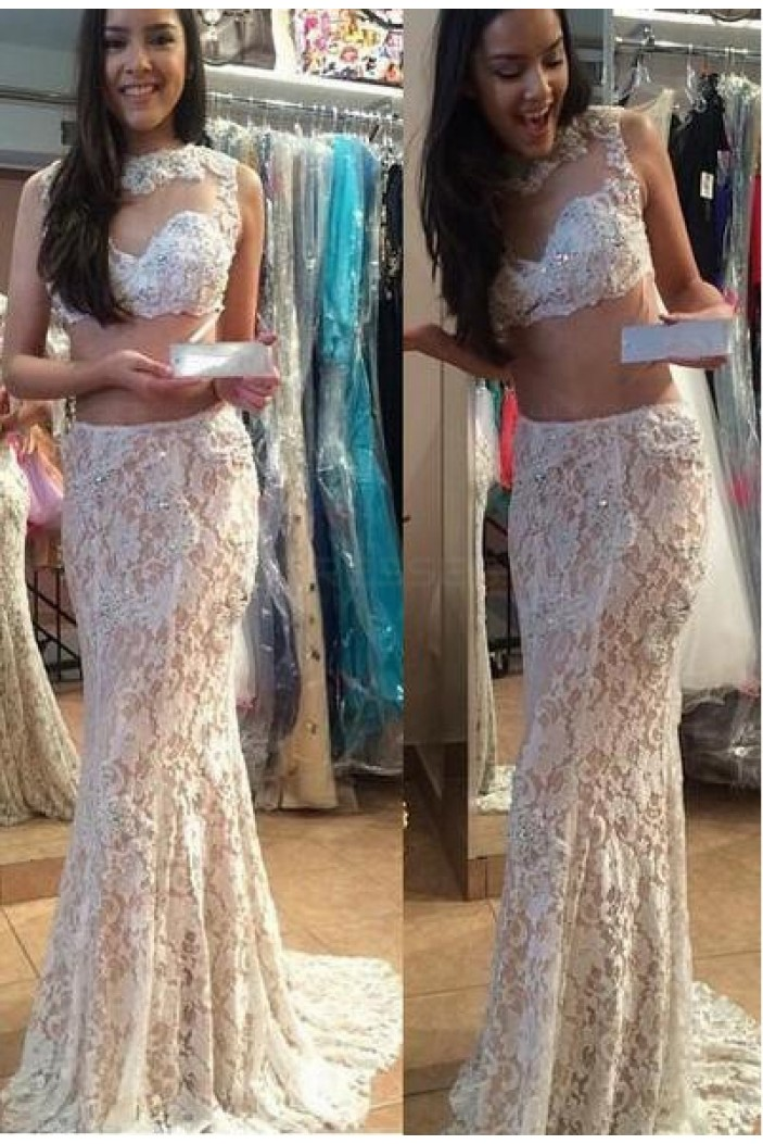 Two Pieces Lace Illusion Neckline Prom Dresses Party Evening Gowns 3020455