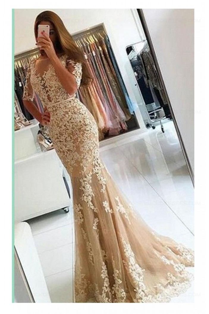 Mermaid Short Sleeves Lace Appliques Long Prom Dresses Party Evening Gowns 3020462