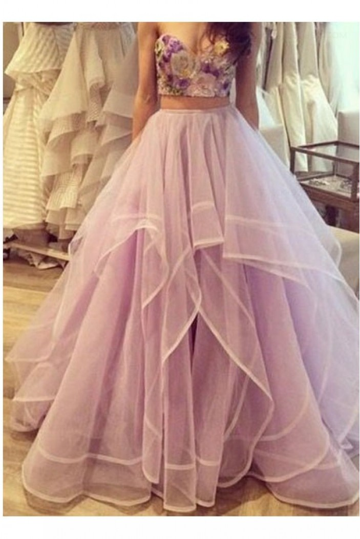 Purple Two Pieces Prom Dresses Party Evening Gowns 3020463
