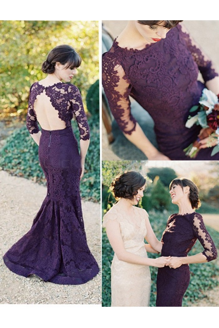 3/4 Length Sleeves Mermaid Long Purple Lace Prom Dresses Party Evening Gowns 3020464