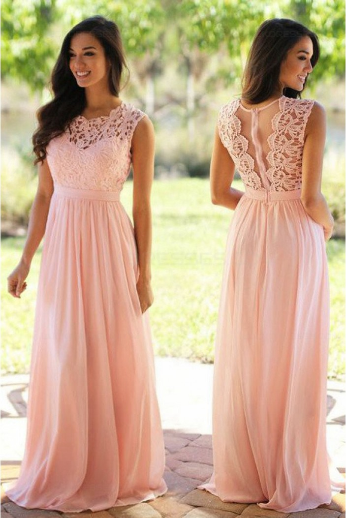 Long Pink Lace Chiffon Prom Dresses Party Evening Gowns 3020470