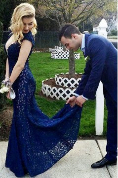Long Blue Mermaid Lace Open Back Prom Dresses Party Evening Gowns 3020473