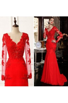 Long Sleeves Mermaid Red Lace Prom Dresses Party Evening Gowns 3020474