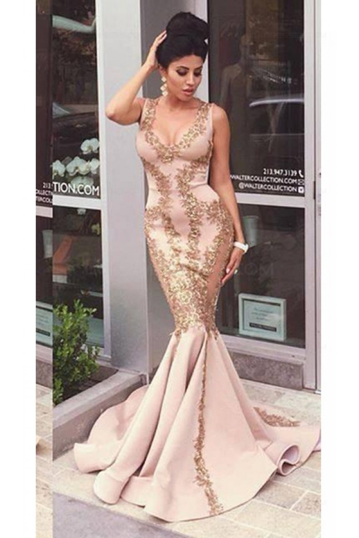 Mermaid Gold Lace Appliques Prom Dresses Party Evening Gowns 3020475