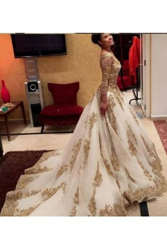 Gold Lace Appliques Long Sleeves Prom Dresses Party Evening Gowns 3020478
