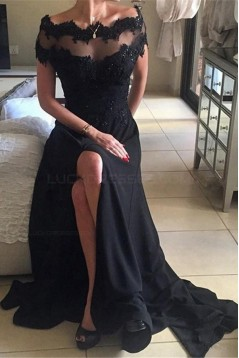 Long Black Illusion Neckline Lace Chiffon Prom Dresses Party Evening Gowns 3020481