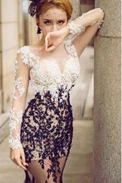 Sexy Mermaid Long Sleeves Black White Lace Prom Dresses Party Evening Gowns 3020484