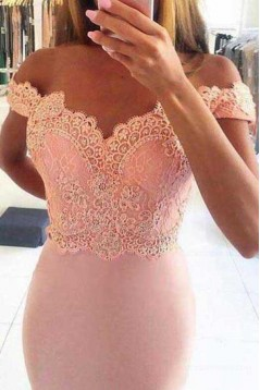 Mermaid Off-the-Shoulder Lace Long Pink Prom Dresses Party Evening Gowns 3020486