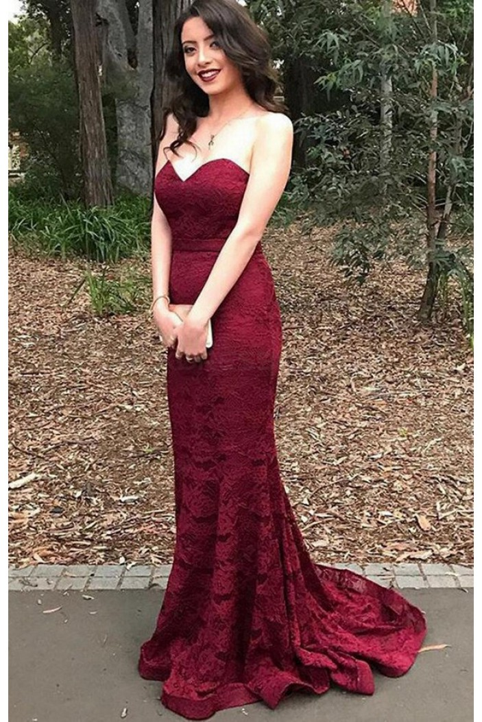 Long Mermaid Lace Burgundy Prom Dresses Party Evening Gowns 3020488