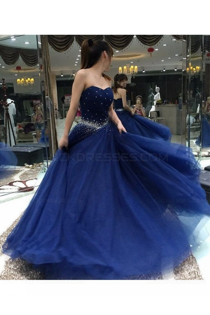 Long Blue Beaded Prom Dresses Party Evening Gowns 3020489