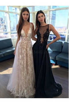 Sexy Low V-Neck Lace Tulle Long Prom Dresses Left Picture 3020493