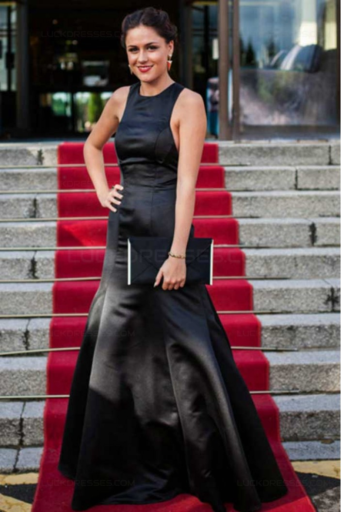 Long Black Jewel Neckline Mermaid Prom Dresses Party Evening Gowns 3020497