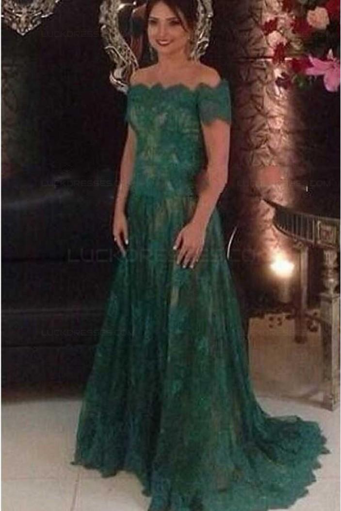 Long Green Lace Off-the-Shoulder Prom Dresses Party Evening Gowns 3020498