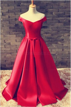 Long Red Off-the-Shoulder Prom Dresses Party Evening Gowns 3020500