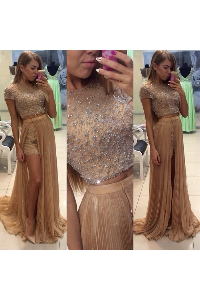 Beaded Two Pieces Long Prom Dresses Party Evening Gowns 3020502