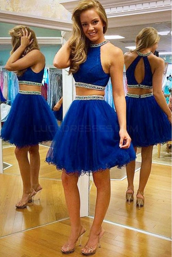 Two Pieces Beaded Tulle Short Homecoming Cocktail Prom Dresses 3020506