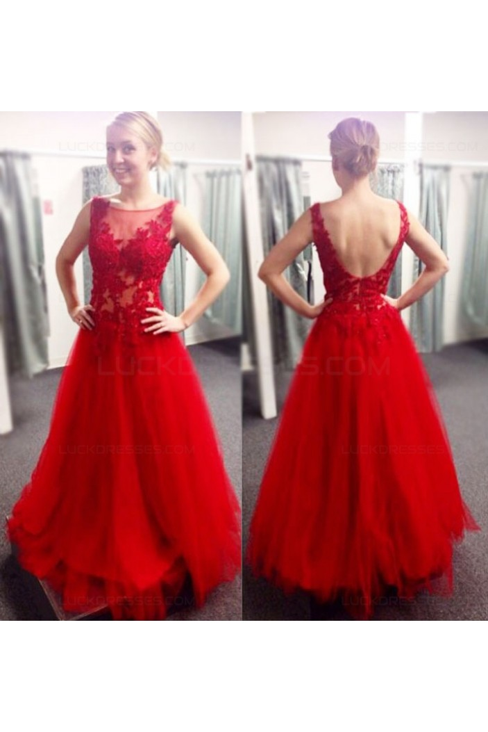 Long Red Lace and Tulle Prom Dresses Party Evening Gowns 3020508