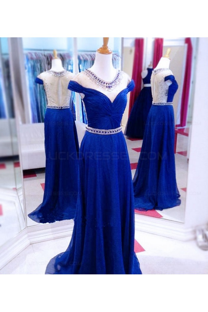 Long Blue Beaded Illusion Neckline Prom Dresses Party Evening Gowns 3020511