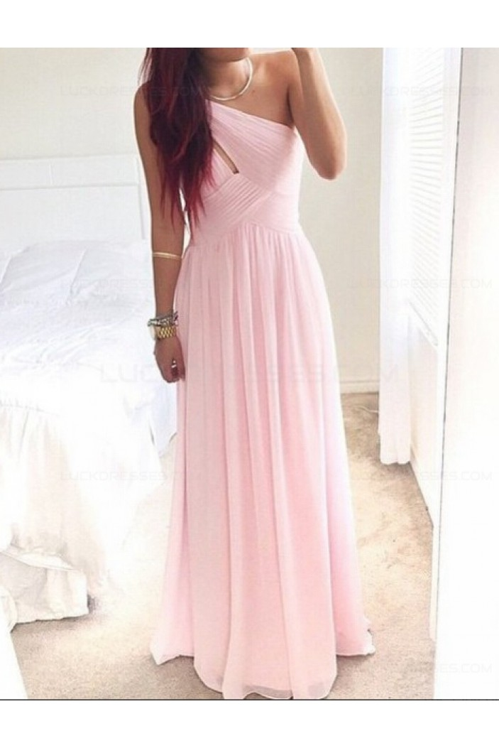 Long Pink One-Shoulder Chiffon Prom Dresses Party Evening Gowns 3020512