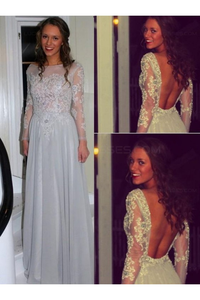 Long Sleeves Beaded Lace Backless Prom Dresses Party Evening Gowns 3020516