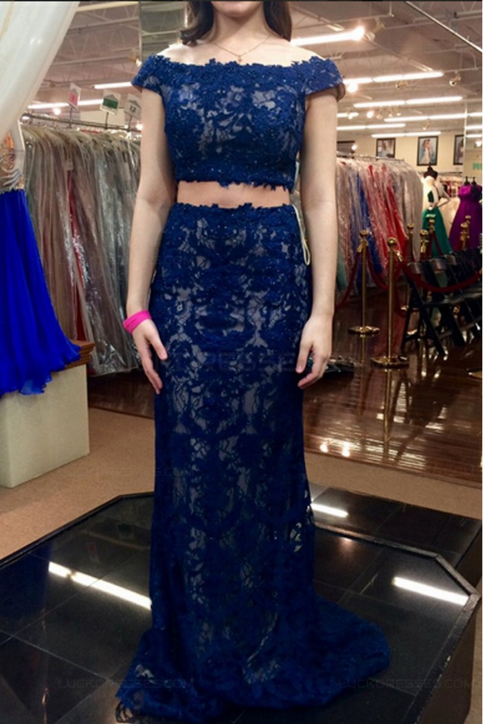 Two Pieces Off-the-Shoulder Lace Prom Dresses Party Evening Gowns 3020518