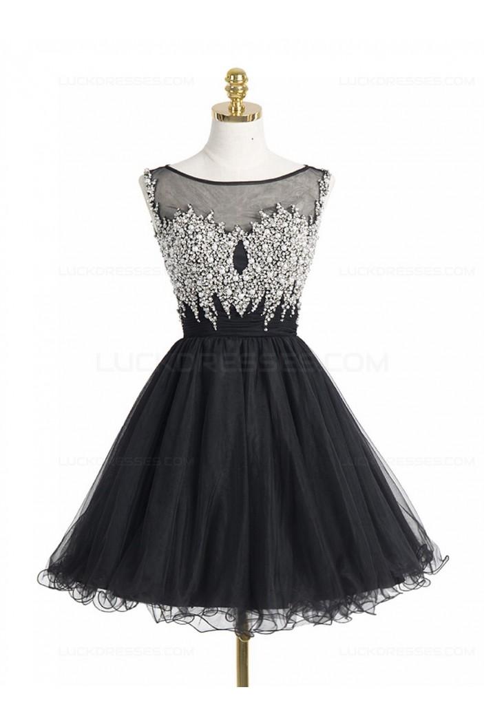 Short/Mini Illusion Neckline Beaded Black Homecoming Cocktail Prom Dresses 3020523
