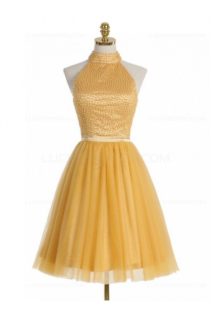 Short Yellow Homecoming Cocktail Prom Dresses 3020524