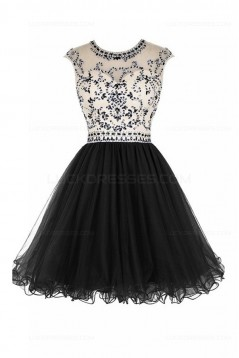 Short Black Beaded Homecoming Cocktail Prom Dresses 3020525