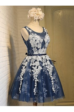 Short Blue Tulle White Lace Appliques Homecoming Cocktail Prom Dresses 3020527