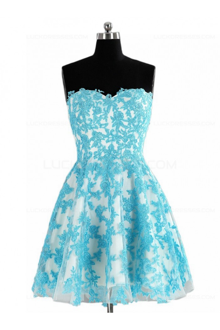 Short Blue Lace Appliques Homecoming Cocktail Prom Dresses 3020528
