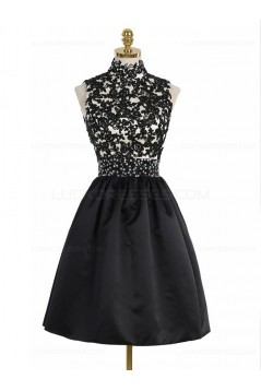 Short Black High Neck Lace Homecoming Cocktail Prom Dresses Party Evening Gowns 3020530