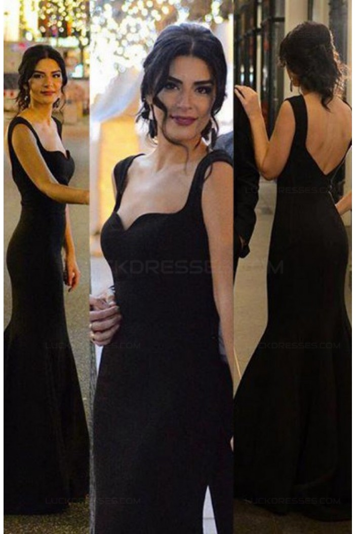 Long Black Mermaid Prom Dresses Party Evening Gowns 3020533