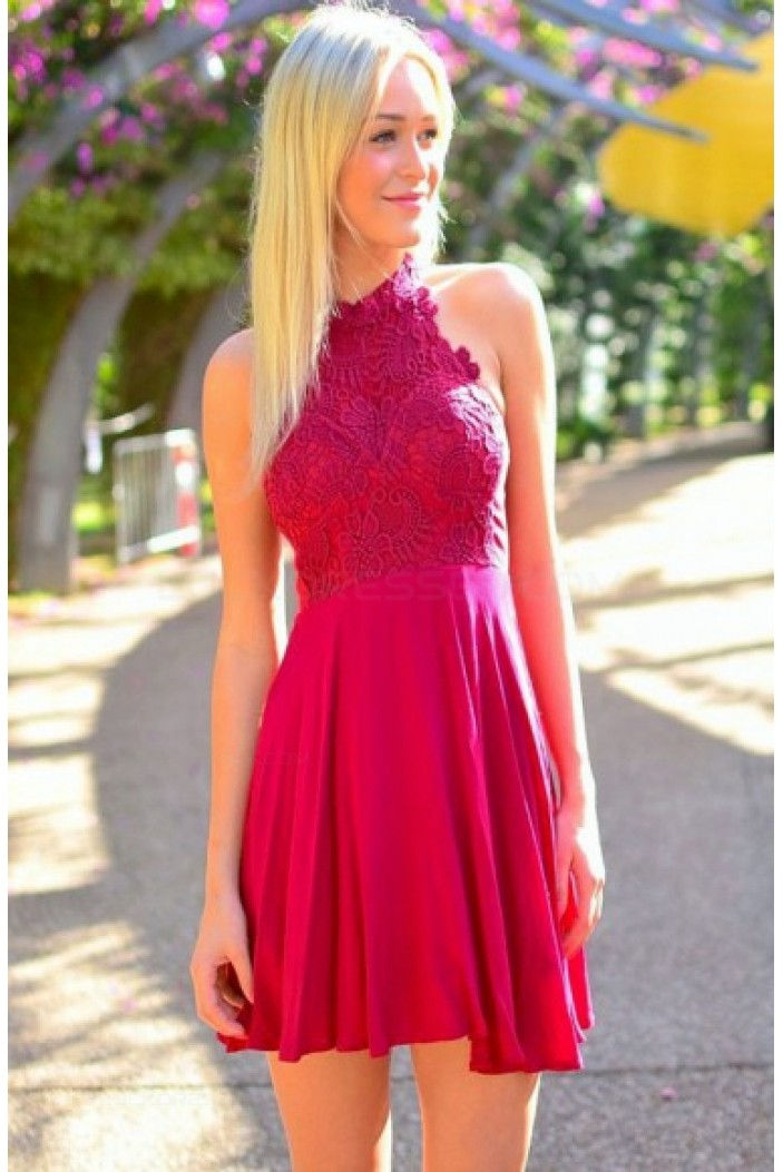 Short Halter Lace Chiffon Homecoming Cocktail Prom Dresses 3020534