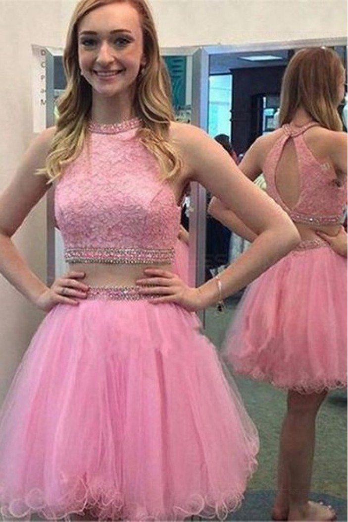 Short Pink Beaded Lace Homecoming Cocktail Prom Dresses 3020536