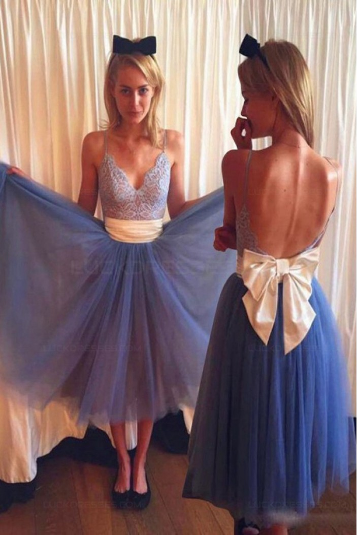 Lace and Tulle Spaghetti Straps Prom Dresses Party Evening Gowns 3020537