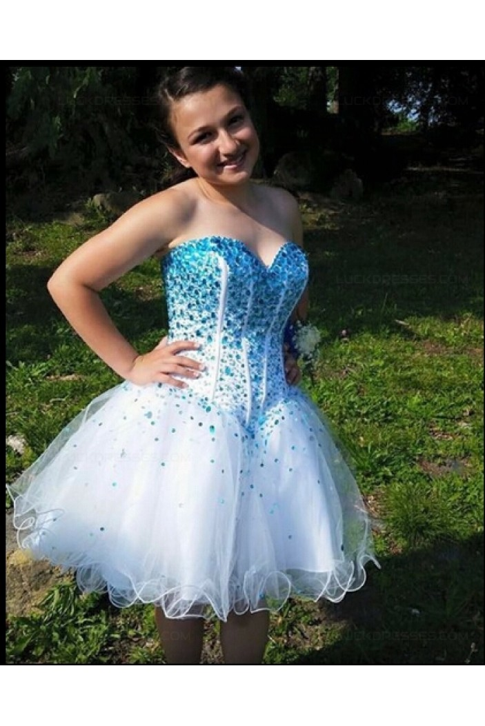 Short Blue Beaded Sweetheart Homecoming Cocktail Prom Dresses Party Evening Gowns 3020541