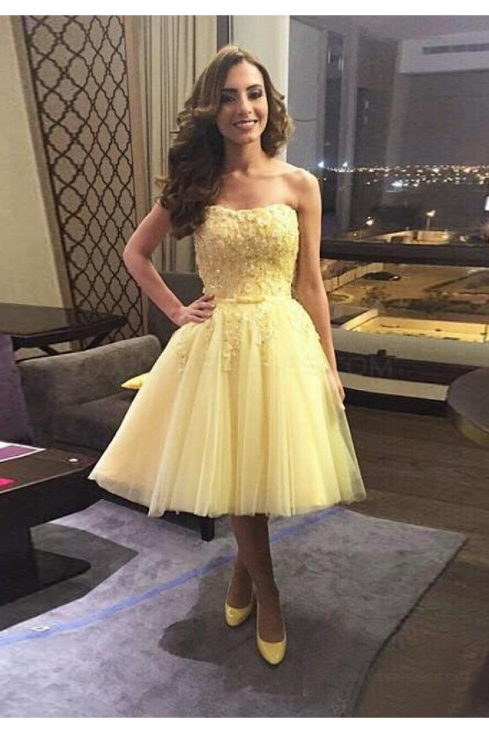 Short Yellow Lace Tulle Homecoming Cocktail Prom Dresses Party Evening Gowns 3020542