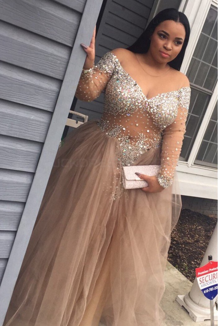 Long Sleeves V-Neck Beaded Plus Size Prom Dresses Party Evening Gowns 3020547