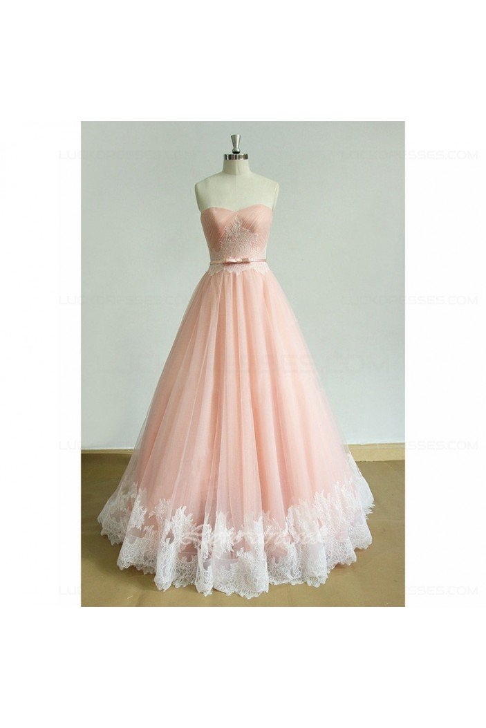 A-Line Long Pink Lace Prom Dresses Party Evening Gowns 3020548