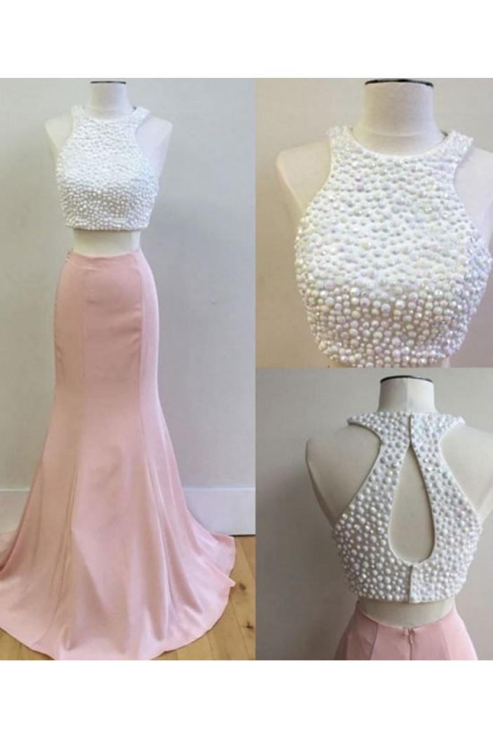 Two Pieces Pink White Prom Dresses Party Evening Gowns 3020549