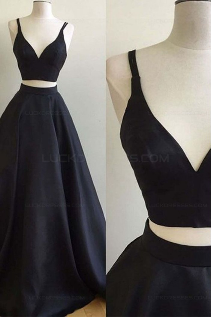 A-Line Two Pieces Simple Long Dark Navy Prom Dresses 3020554