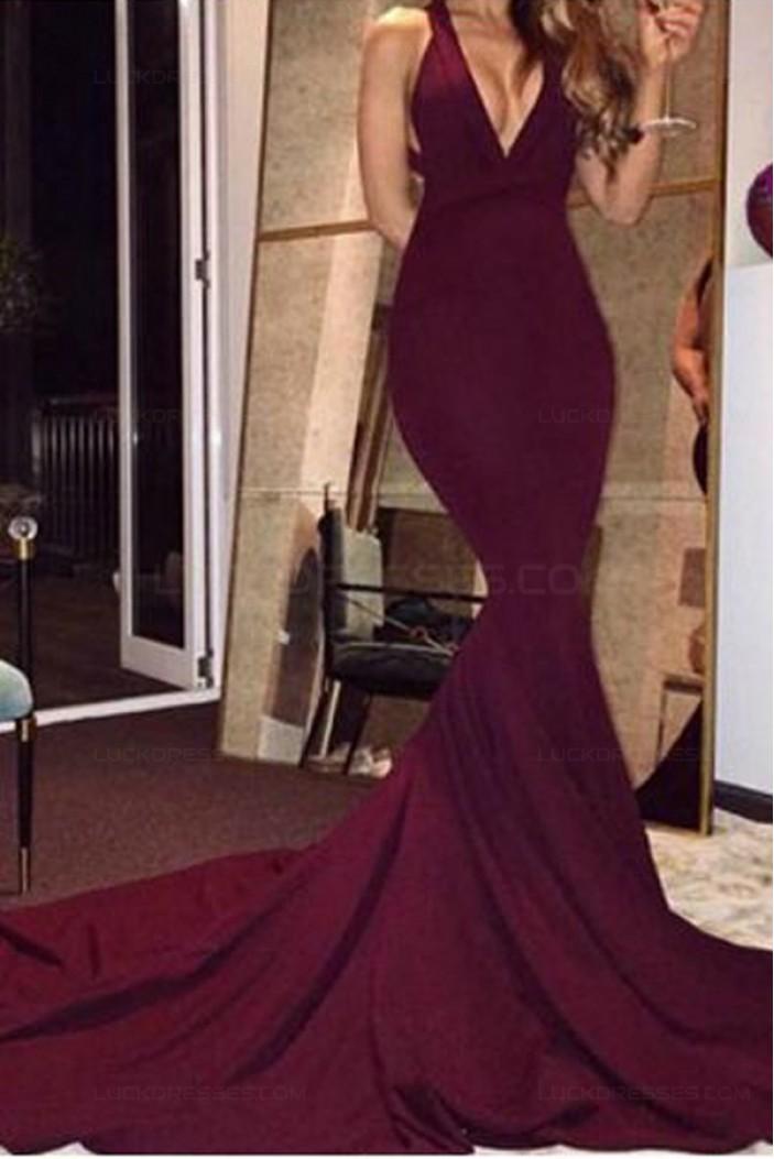 Mermaid Low V-Neck Burgundy Long Prom Dresses 3020555