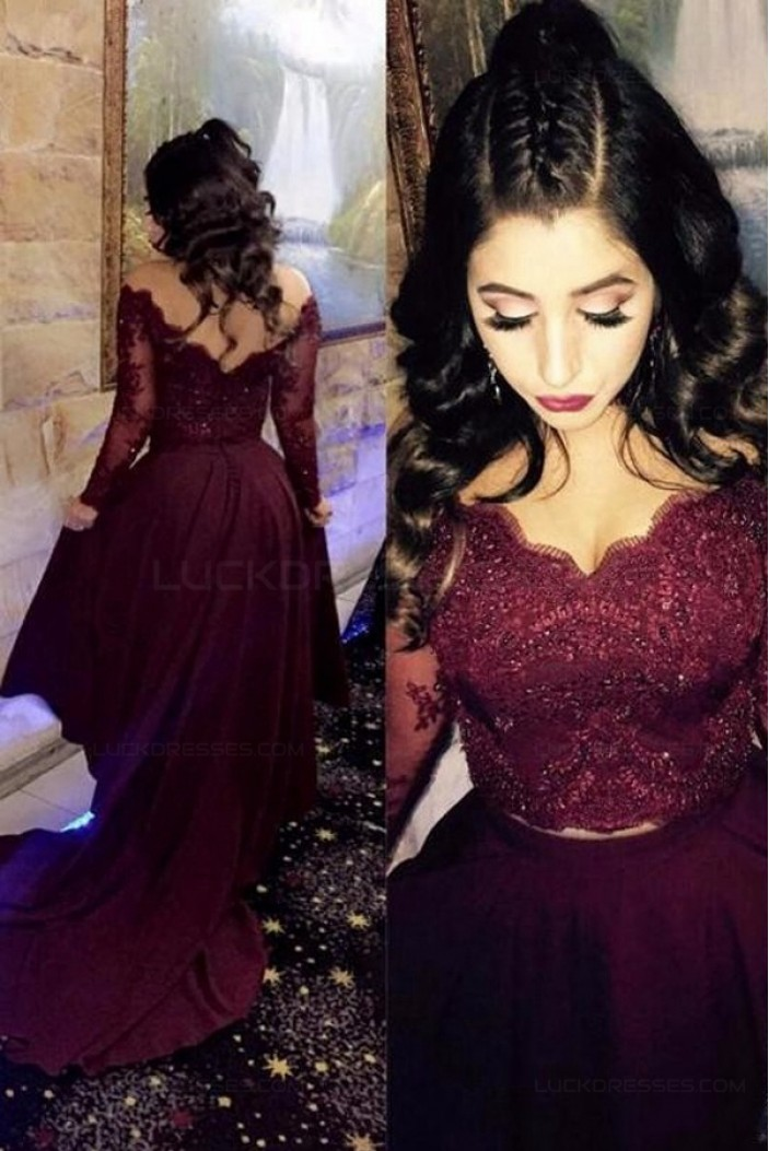 Assymetrical Two Pieces Lace Burgundy Long Evening Party Prom Dresses 3020556
